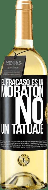24,95 € Envío gratis | Vino Blanco Edición WHITE El fracaso es un moratón, no un tatuaje Etiqueta Negra. Etiqueta personalizable Vino joven Cosecha 2020 Verdejo