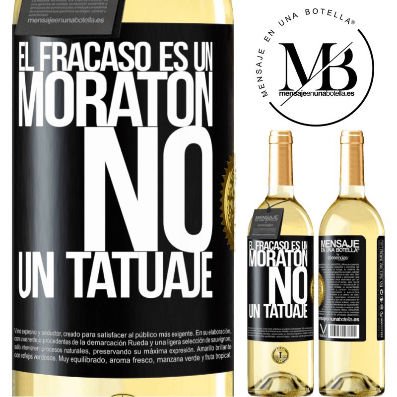 24,95 € Envoi gratuit   Vin blanc Édition WHITE L'échec est une ecchymose, pas un tatouage Étiquette Noire. Étiquette personnalisable Vin jeune Récolte 2020 Verdejo