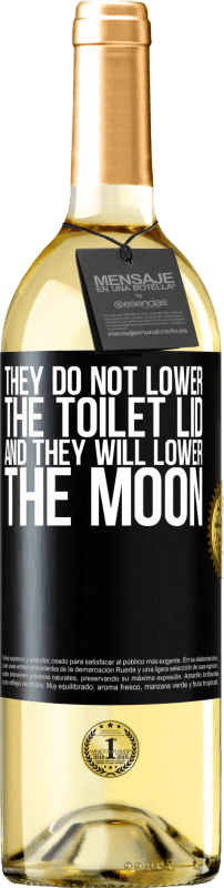 24,95 € Free Shipping | White Wine WHITE Edition They do not lower the toilet lid and they will lower the moon Black Label. Customizable label Young wine Harvest 2020 Verdejo