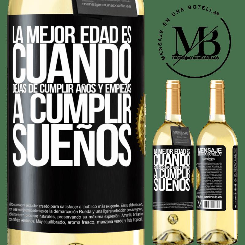 24,95 € Envoi gratuit   Vin blanc Édition WHITE Le meilleur âge, c'est quand vous arrêtez de tourner les années et commencez à réaliser vos rêves Étiquette Noire. Étiquette personnalisable Vin jeune Récolte 2020 Verdejo