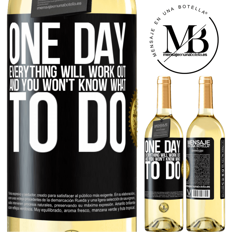 24,95 € Free Shipping   White Wine WHITE Edition One day everything will work out and you won't know what to do Black Label. Customizable label Young wine Harvest 2020 Verdejo
