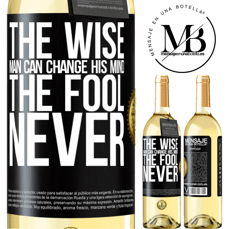 24,95 € Free Shipping   White Wine WHITE Edition The wise man can change his mind. The fool, never Black Label. Customizable label Young wine Harvest 2020 Verdejo