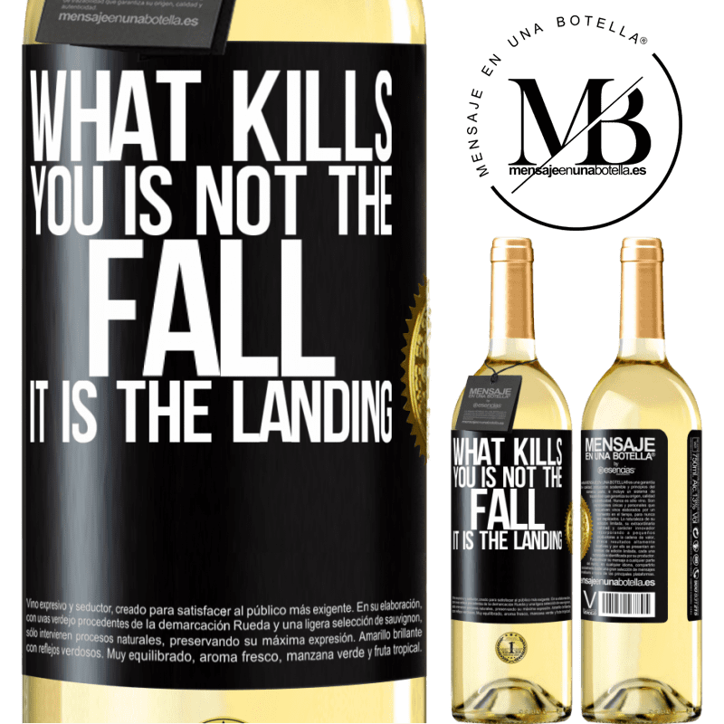 24,95 € Free Shipping | White Wine WHITE Edition What kills you is not the fall, it is the landing Black Label. Customizable label Young wine Harvest 2020 Verdejo