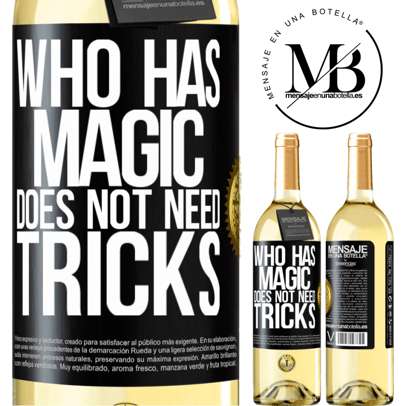 24,95 € Free Shipping | White Wine WHITE Edition Who has magic does not need tricks Black Label. Customizable label Young wine Harvest 2020 Verdejo