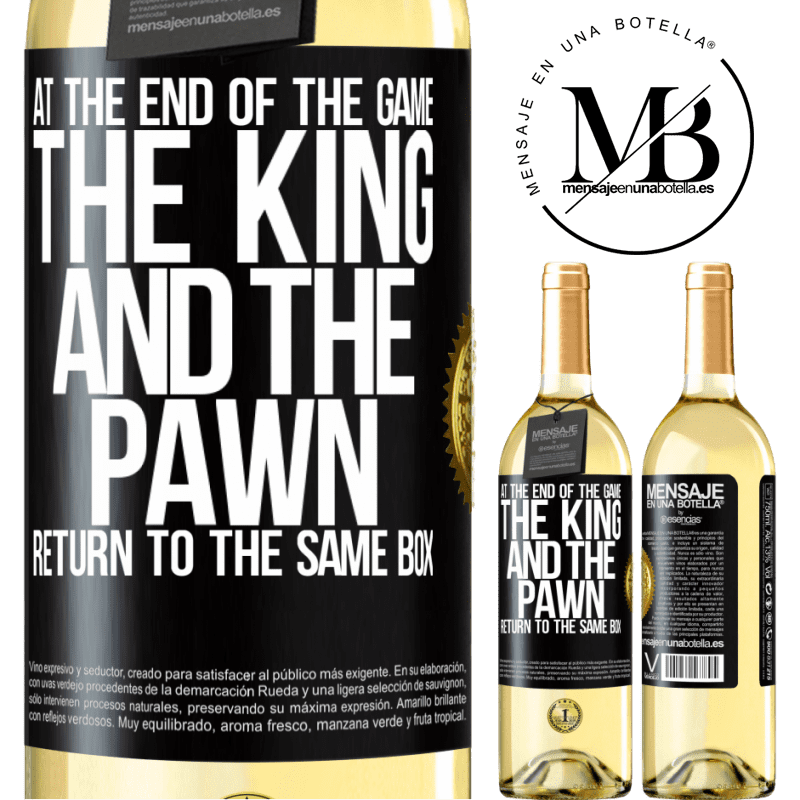 24,95 € Free Shipping   White Wine WHITE Edition At the end of the game, the king and the pawn return to the same box Black Label. Customizable label Young wine Harvest 2020 Verdejo