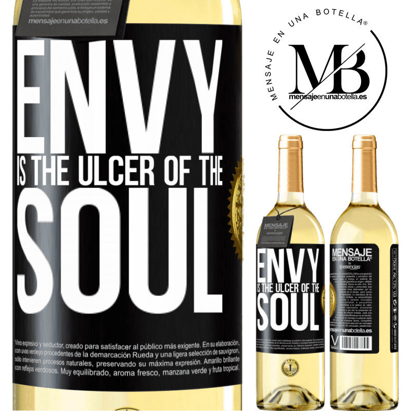 24,95 € Free Shipping | White Wine WHITE Edition Envy is the ulcer of the soul Black Label. Customizable label Young wine Harvest 2020 Verdejo