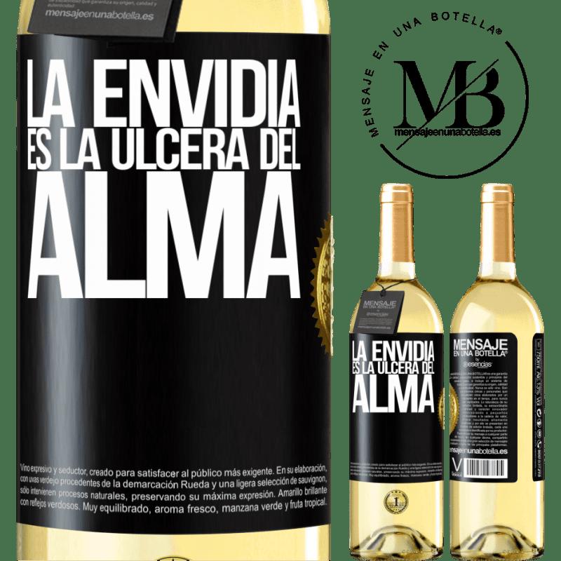 24,95 € Envío gratis | Vino Blanco Edición WHITE La envidia es la úlcera del alma Etiqueta Negra. Etiqueta personalizable Vino joven Cosecha 2020 Verdejo