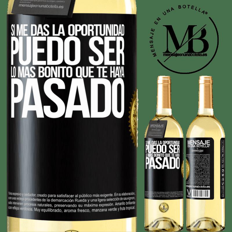 24,95 € Envío gratis | Vino Blanco Edición WHITE Si me das la oportunidad, puedo ser lo más bonito que te haya pasado Etiqueta Negra. Etiqueta personalizable Vino joven Cosecha 2020 Verdejo