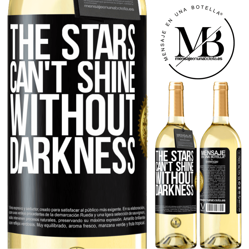 24,95 € Free Shipping   White Wine WHITE Edition The stars can't shine without darkness Black Label. Customizable label Young wine Harvest 2020 Verdejo