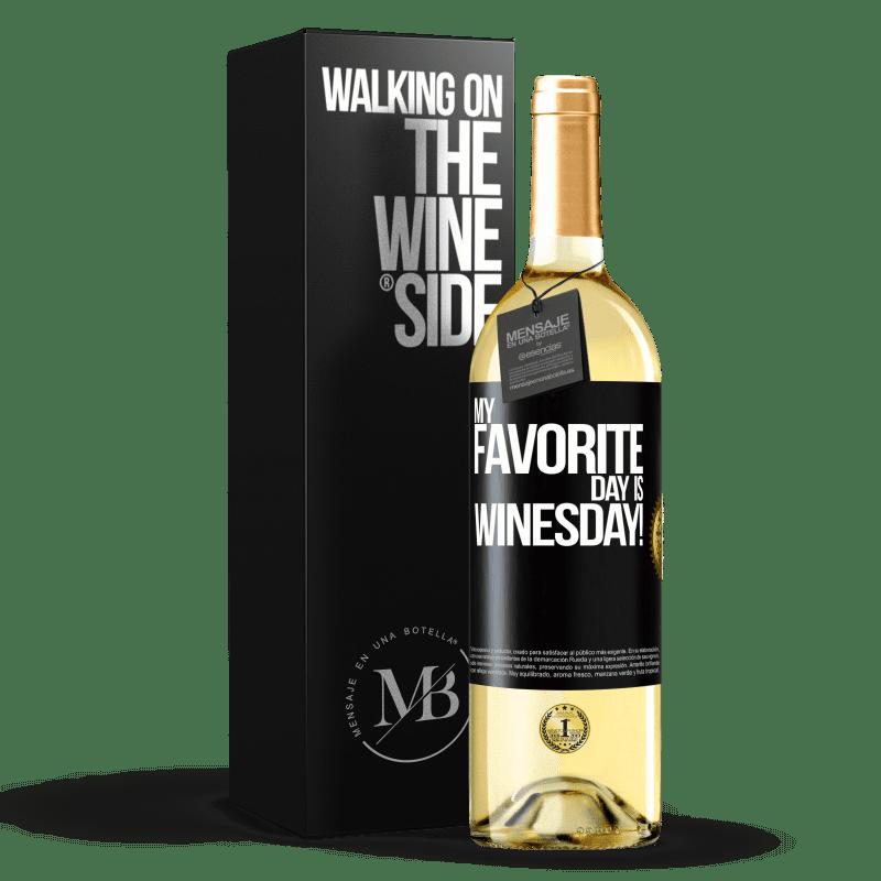 24,95 € Envío gratis | Vino Blanco Edición WHITE My favorite day is winesday! Etiqueta Negra. Etiqueta personalizable Vino joven Cosecha 2020 Verdejo