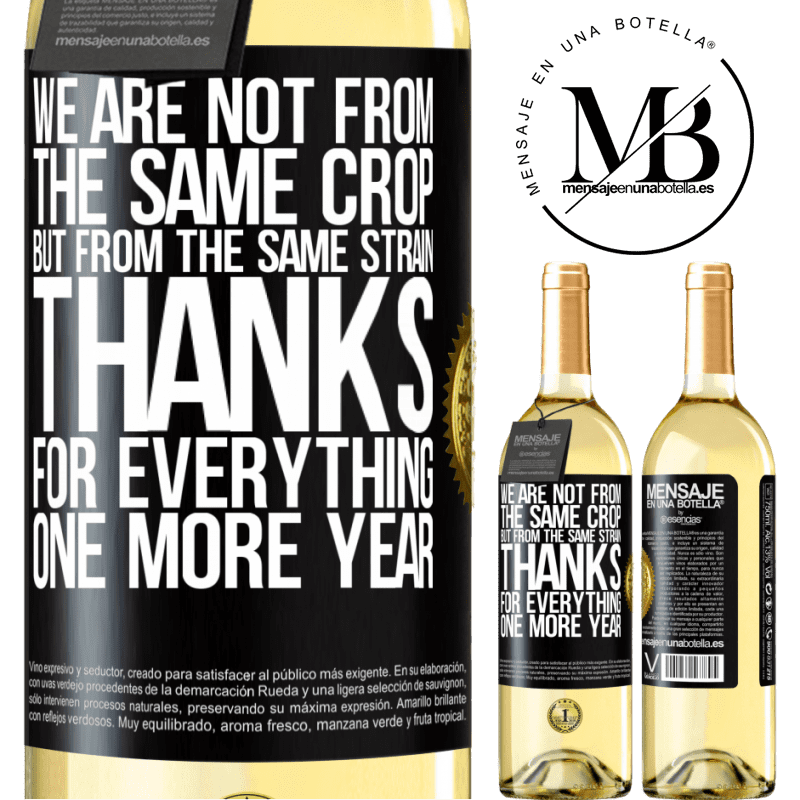 24,95 € Free Shipping   White Wine WHITE Edition We are not from the same crop, but from the same strain. Thanks for everything, one more year Black Label. Customizable label Young wine Harvest 2020 Verdejo
