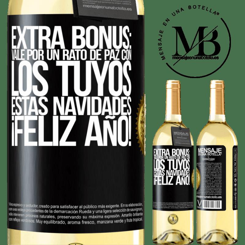 24,95 € Envío gratis   Vino Blanco Edición WHITE Extra Bonus: Vale por un rato de paz con los tuyos estas navidades. Feliz Año! Etiqueta Negra. Etiqueta personalizable Vino joven Cosecha 2020 Verdejo