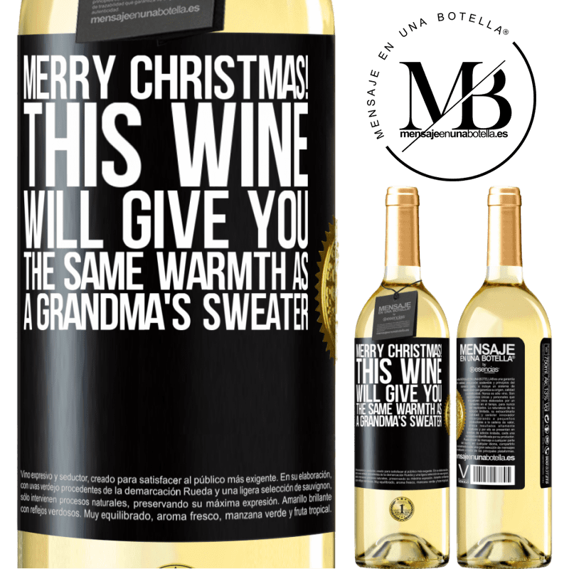 24,95 € Free Shipping | White Wine WHITE Edition Merry Christmas! This wine will give you the same warmth as a grandma's sweater Black Label. Customizable label Young wine Harvest 2020 Verdejo