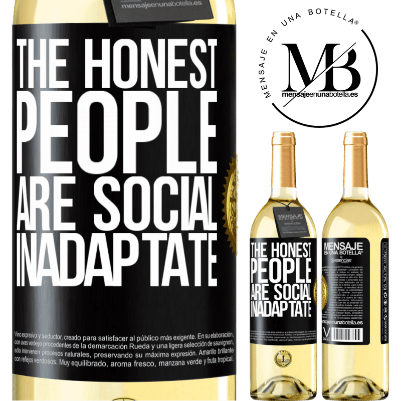 24,95 € Free Shipping   White Wine WHITE Edition The honest people are social inadaptate Black Label. Customizable label Young wine Harvest 2020 Verdejo