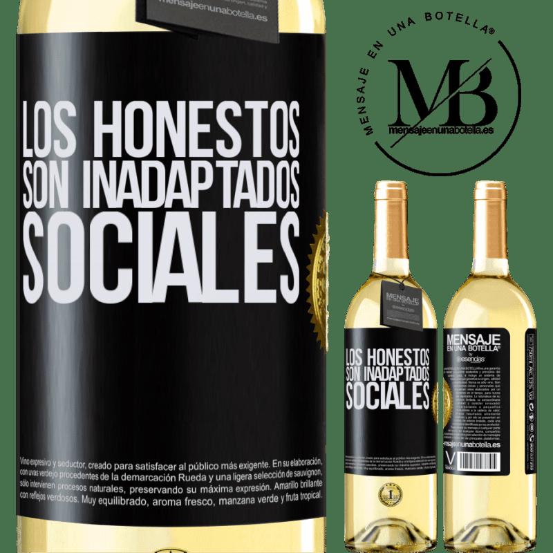 24,95 € Envío gratis | Vino Blanco Edición WHITE Los honestos son inadaptados sociales Etiqueta Negra. Etiqueta personalizable Vino joven Cosecha 2020 Verdejo