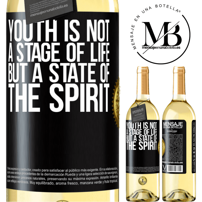24,95 € Free Shipping   White Wine WHITE Edition Youth is not a stage of life, but a state of the spirit Black Label. Customizable label Young wine Harvest 2020 Verdejo