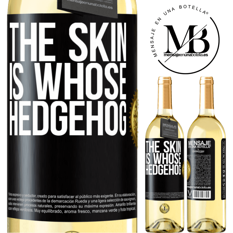 24,95 € Free Shipping | White Wine WHITE Edition The skin is whose hedgehog Black Label. Customizable label Young wine Harvest 2020 Verdejo
