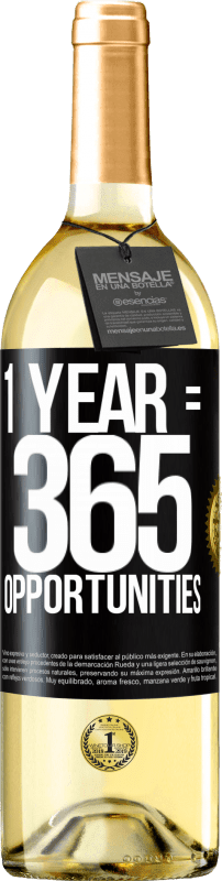 24,95 € Free Shipping | White Wine WHITE Edition 1 year 365 opportunities Black Label. Customizable label Young wine Harvest 2020 Verdejo