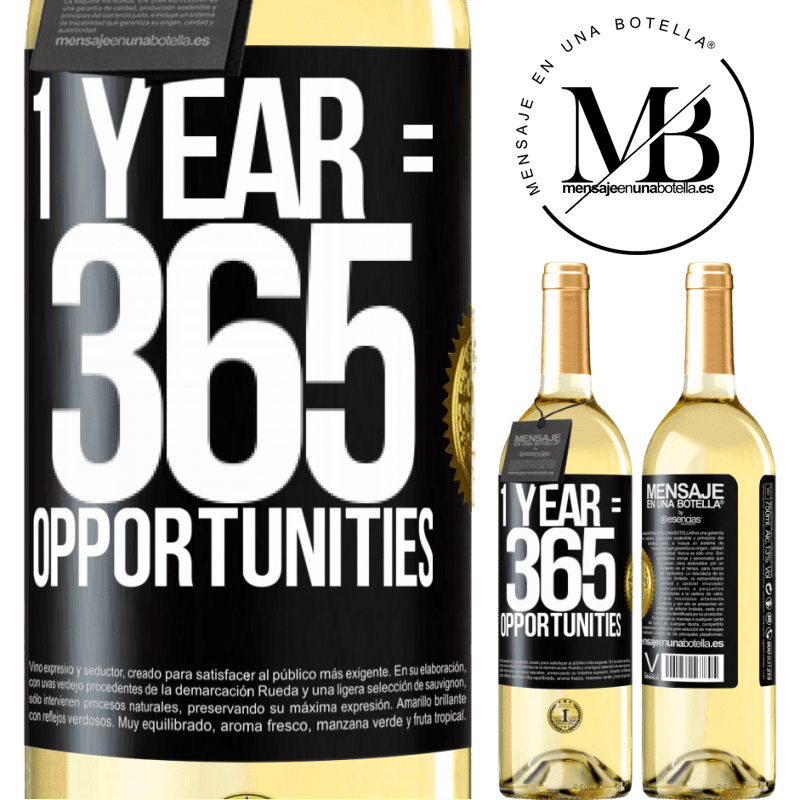 24,95 € Free Shipping   White Wine WHITE Edition 1 year 365 opportunities Black Label. Customizable label Young wine Harvest 2020 Verdejo