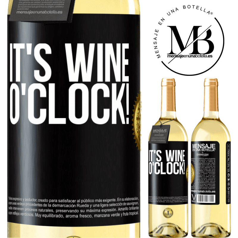 24,95 € Free Shipping | White Wine WHITE Edition It's wine o'clock! Black Label. Customizable label Young wine Harvest 2020 Verdejo