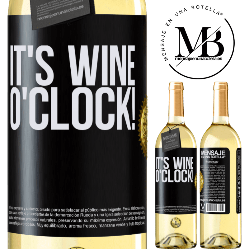 24,95 € Envío gratis | Vino Blanco Edición WHITE It's wine o'clock! Etiqueta Negra. Etiqueta personalizable Vino joven Cosecha 2020 Verdejo