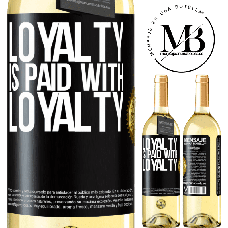 24,95 € Free Shipping | White Wine WHITE Edition Loyalty is paid with loyalty Black Label. Customizable label Young wine Harvest 2020 Verdejo