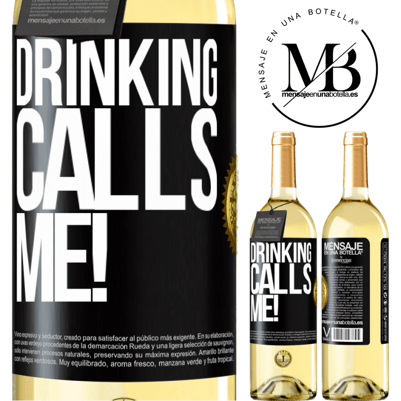24,95 € Free Shipping   White Wine WHITE Edition drinking calls me! Black Label. Customizable label Young wine Harvest 2020 Verdejo
