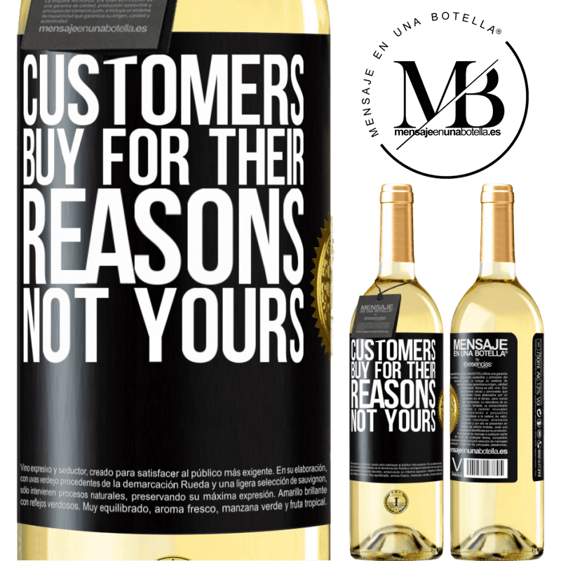 24,95 € Free Shipping | White Wine WHITE Edition Customers buy for their reasons, not yours Black Label. Customizable label Young wine Harvest 2020 Verdejo