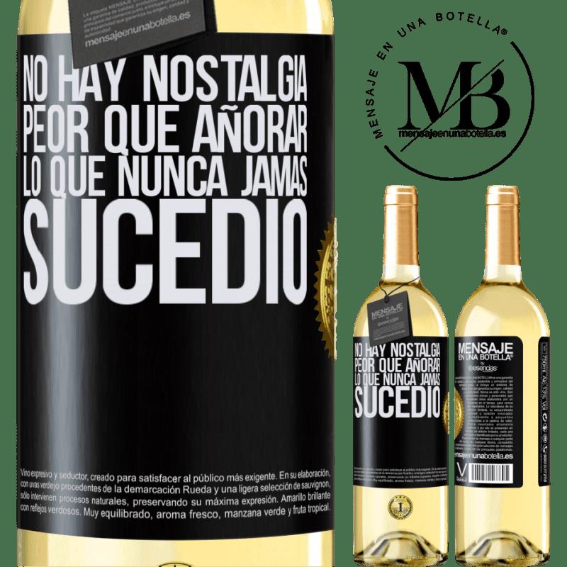 24,95 € Envío gratis | Vino Blanco Edición WHITE No hay nostalgia peor que añorar lo que nunca jamás sucedió Etiqueta Negra. Etiqueta personalizable Vino joven Cosecha 2020 Verdejo