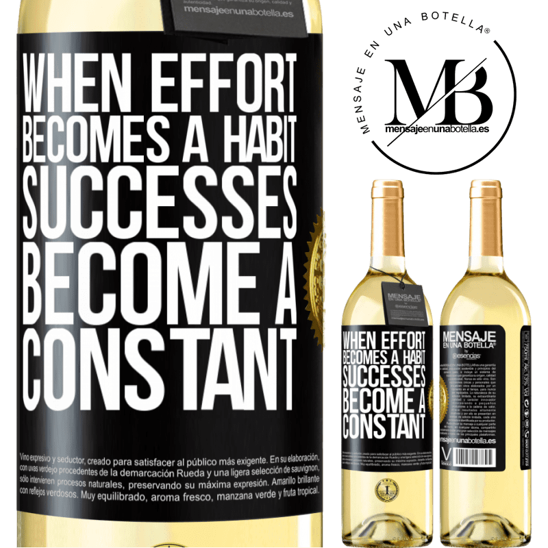 24,95 € Free Shipping | White Wine WHITE Edition When effort becomes a habit, successes become a constant Black Label. Customizable label Young wine Harvest 2020 Verdejo