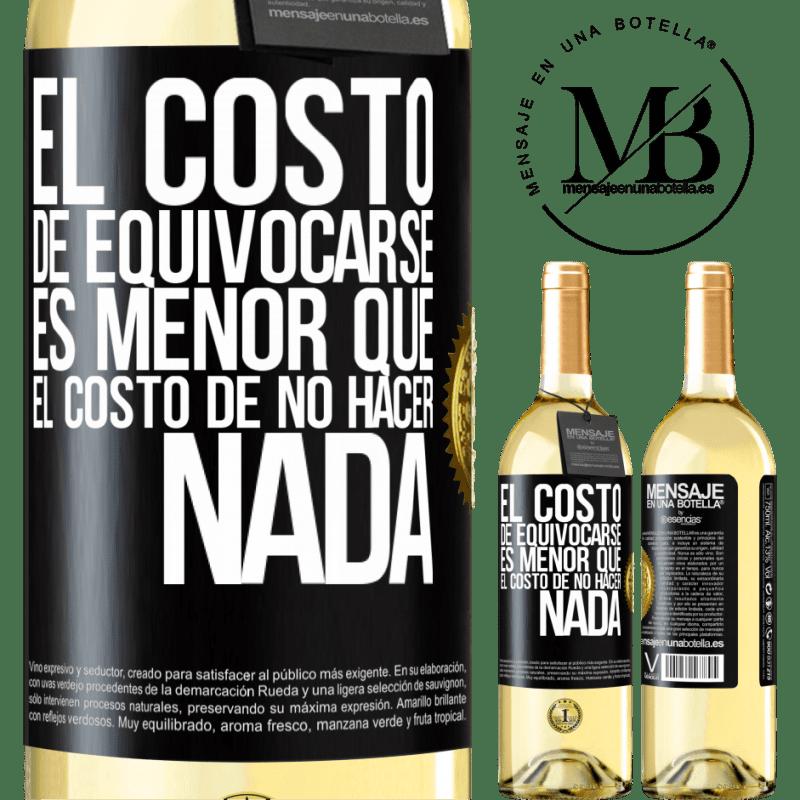 24,95 € Envoi gratuit | Vin blanc Édition WHITE Le coût de l'erreur est inférieur au coût de l'inaction Étiquette Noire. Étiquette personnalisable Vin jeune Récolte 2020 Verdejo