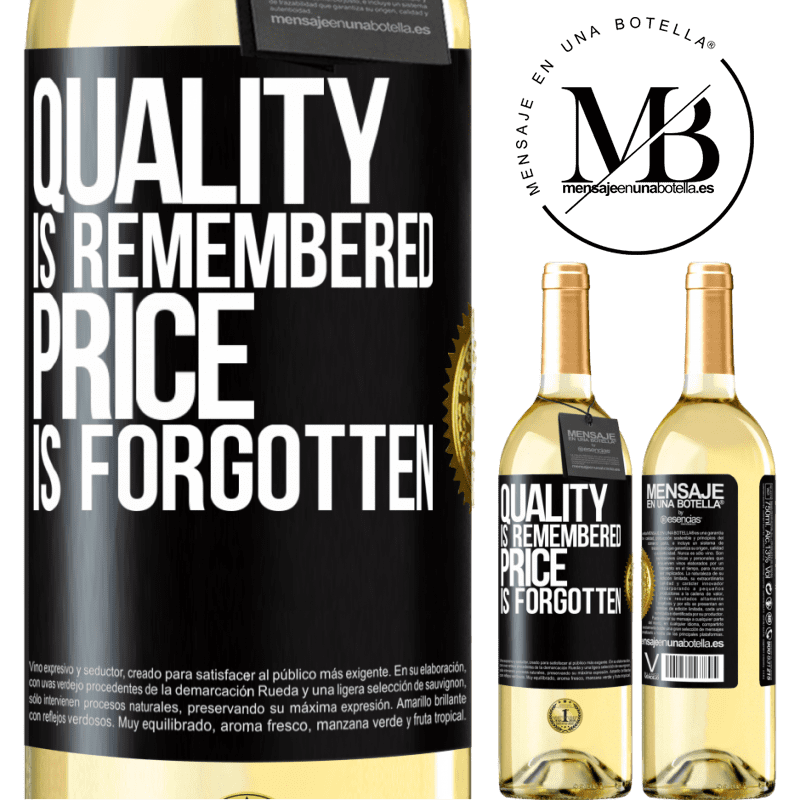 24,95 € Free Shipping   White Wine WHITE Edition Quality is remembered, price is forgotten Black Label. Customizable label Young wine Harvest 2020 Verdejo