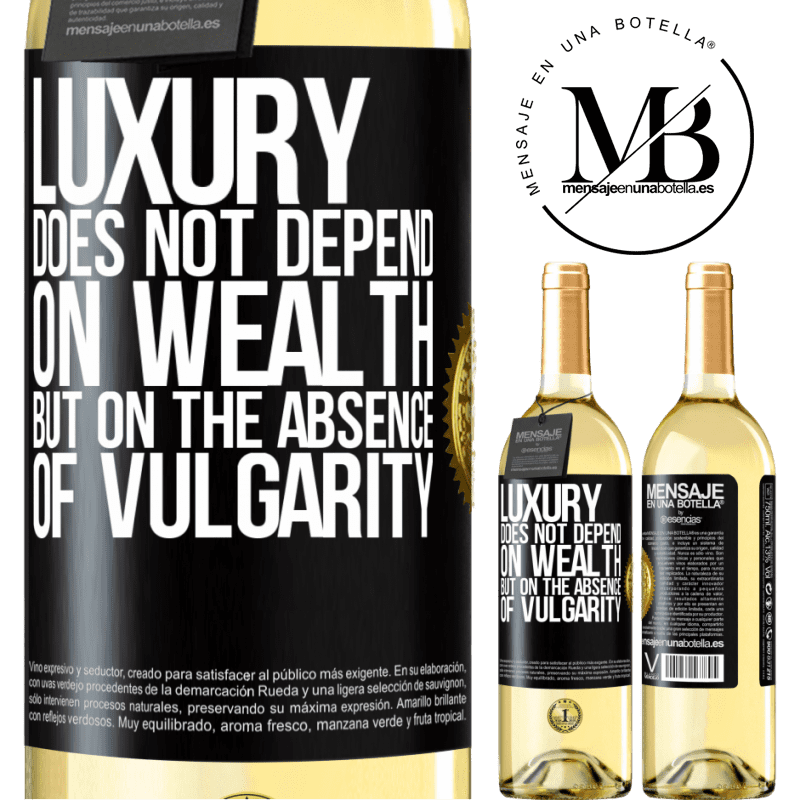 24,95 € Free Shipping | White Wine WHITE Edition Luxury does not depend on wealth, but on the absence of vulgarity Black Label. Customizable label Young wine Harvest 2020 Verdejo