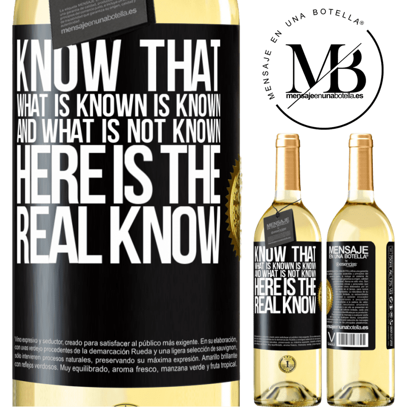 24,95 € Free Shipping | White Wine WHITE Edition Know that what is known is known and what is not known here is the real know Black Label. Customizable label Young wine Harvest 2020 Verdejo