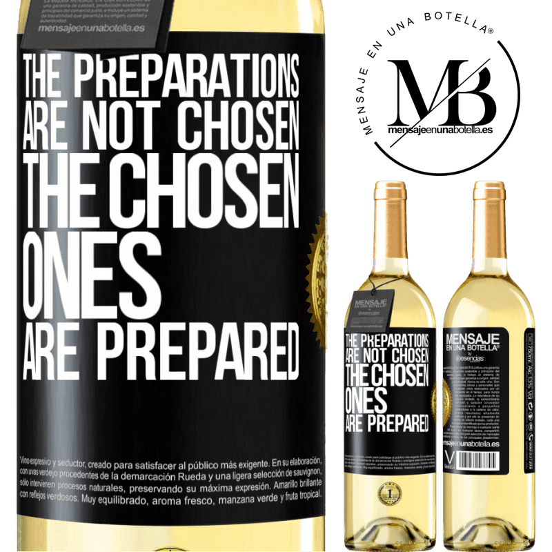 24,95 € Free Shipping | White Wine WHITE Edition The preparations are not chosen, the chosen ones are prepared Black Label. Customizable label Young wine Harvest 2020 Verdejo