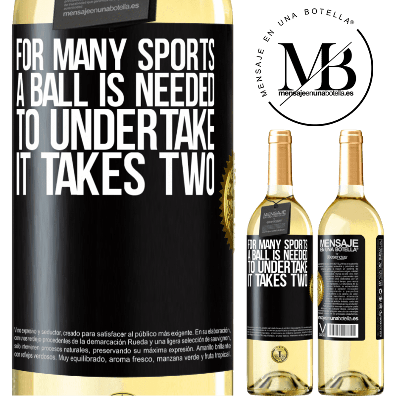 24,95 € Free Shipping | White Wine WHITE Edition For many sports a ball is needed. To undertake, it takes two Black Label. Customizable label Young wine Harvest 2020 Verdejo