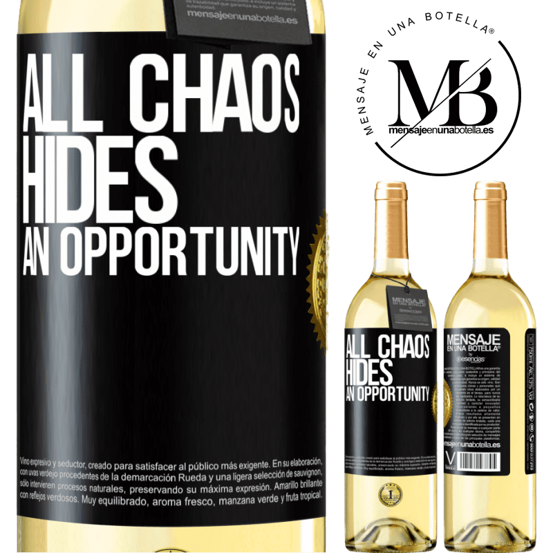 24,95 € Free Shipping   White Wine WHITE Edition All chaos hides an opportunity Black Label. Customizable label Young wine Harvest 2020 Verdejo