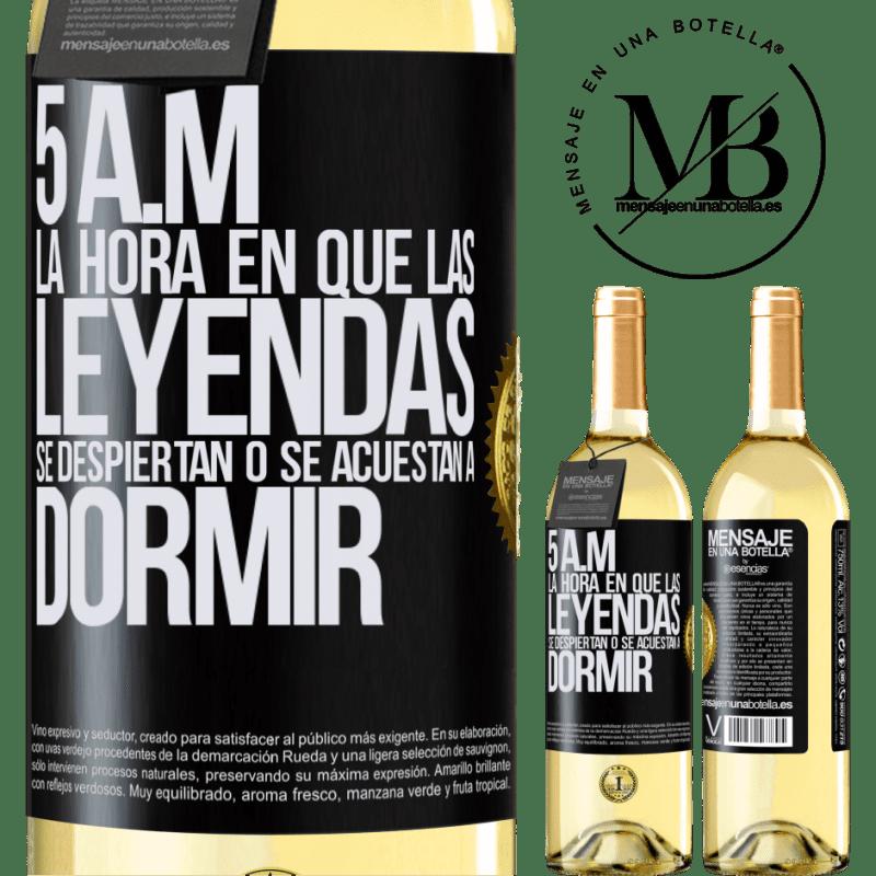 24,95 € Envoi gratuit | Vin blanc Édition WHITE 5 heures du matin Le moment où les légendes se réveillent ou se couchent Étiquette Noire. Étiquette personnalisable Vin jeune Récolte 2020 Verdejo