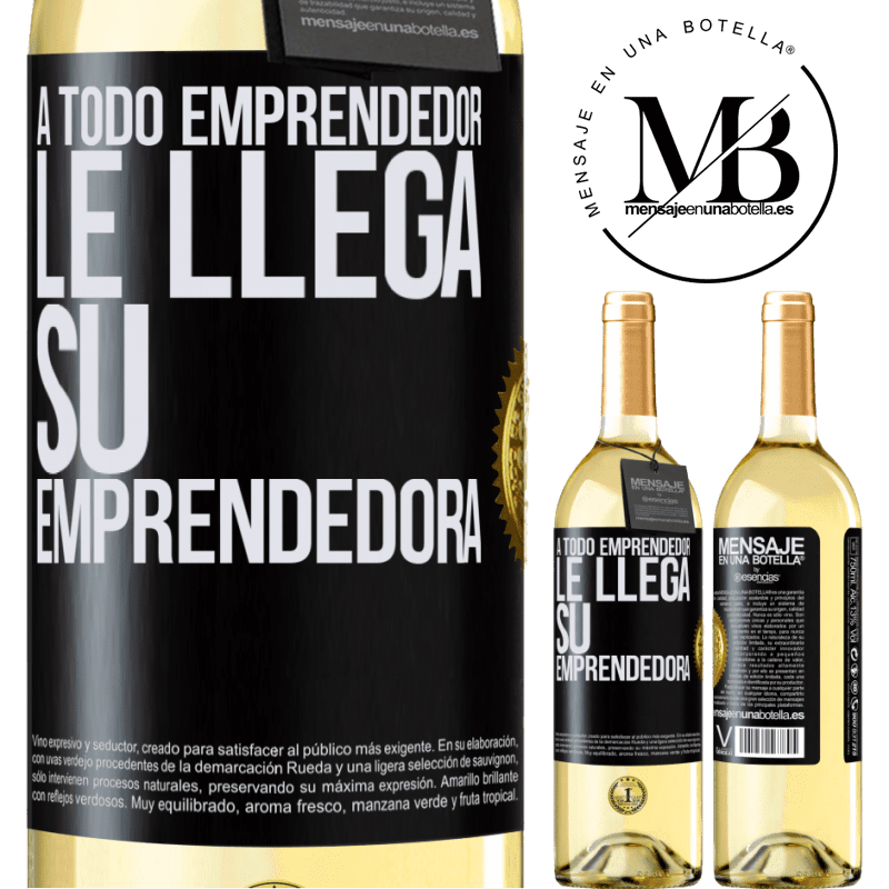 24,95 € Envío gratis | Vino Blanco Edición WHITE A todo emprendedor le llega su emprendedora Etiqueta Negra. Etiqueta personalizable Vino joven Cosecha 2020 Verdejo