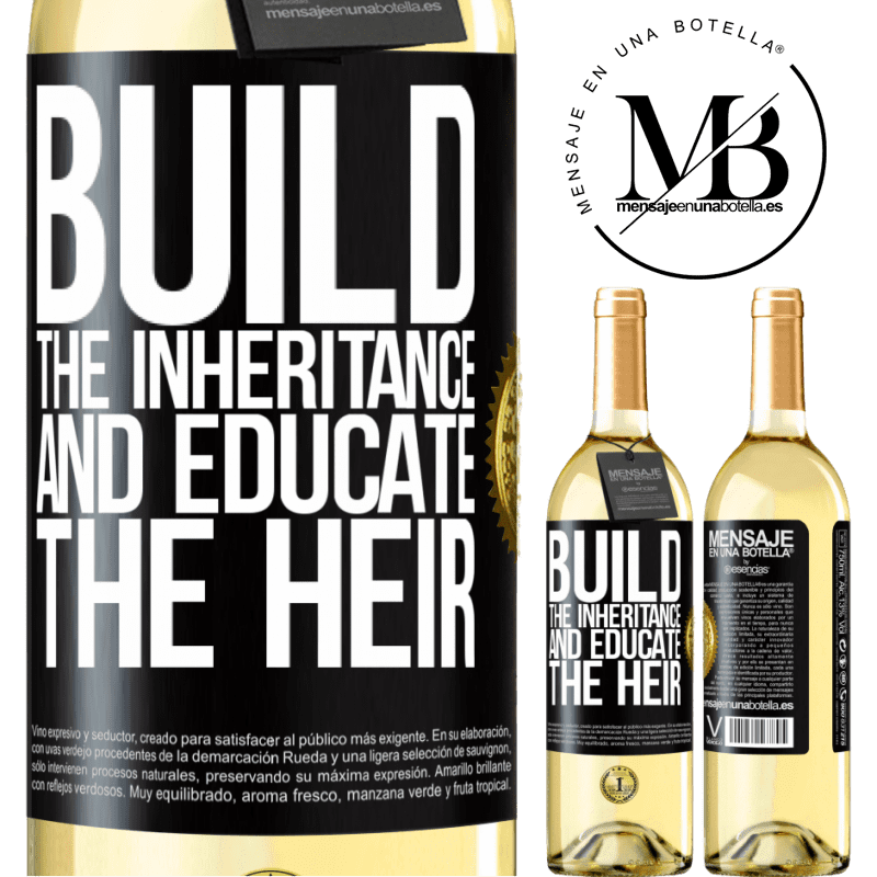 24,95 € Free Shipping | White Wine WHITE Edition Build the inheritance and educate the heir Black Label. Customizable label Young wine Harvest 2020 Verdejo