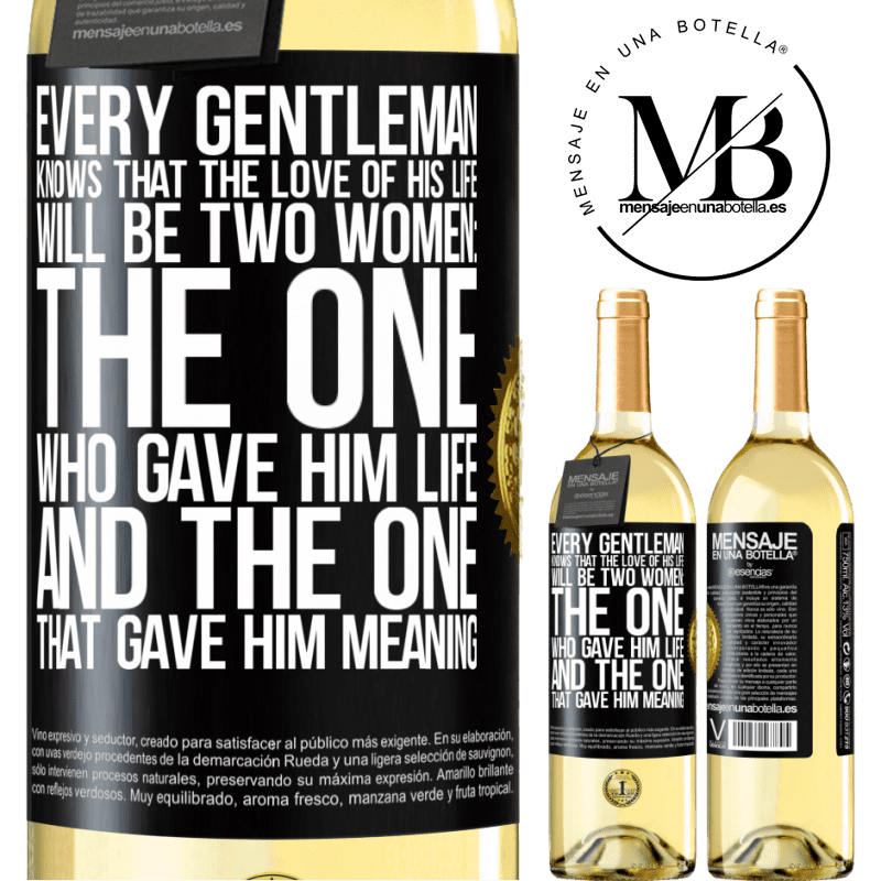 24,95 € Free Shipping | White Wine WHITE Edition Every gentleman knows that the love of his life will be two women: the one who gave him life and the one that gave him Black Label. Customizable label Young wine Harvest 2020 Verdejo