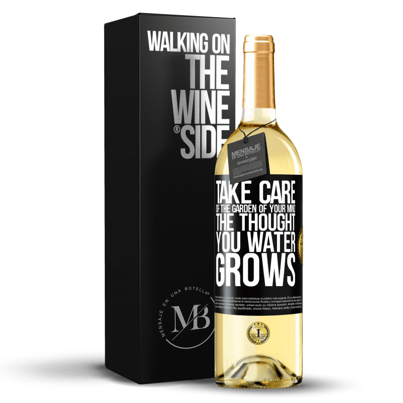 24,95 € Free Shipping | White Wine WHITE Edition Take care of the garden of your mind. The thought you water grows Black Label. Customizable label Young wine Harvest 2020 Verdejo