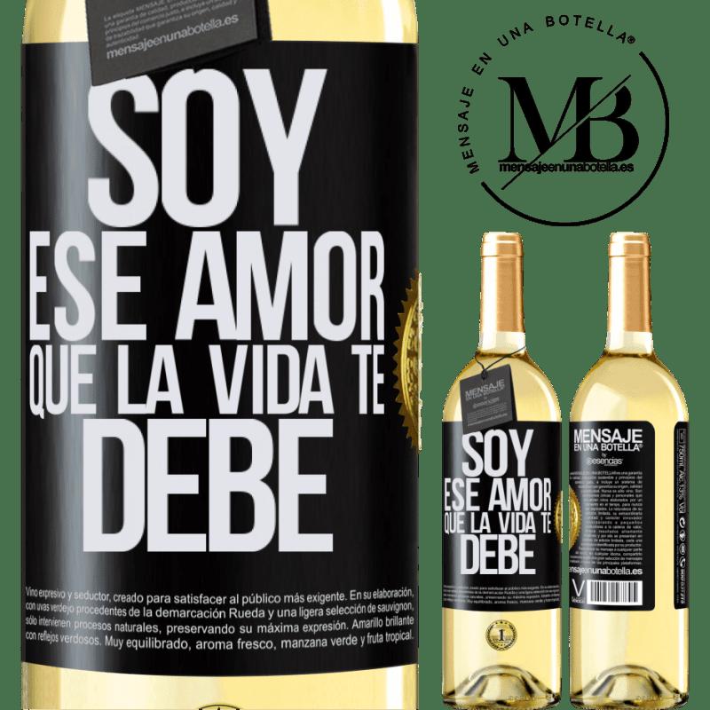 24,95 € Envoi gratuit | Vin blanc Édition WHITE Je suis cet amour que la vie te doit Étiquette Noire. Étiquette personnalisable Vin jeune Récolte 2020 Verdejo