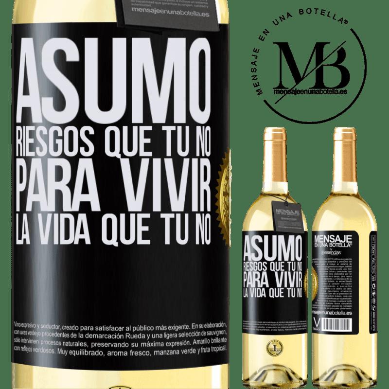 24,95 € Envoi gratuit   Vin blanc Édition WHITE Je prends des risques que tu ne fais pas, pour vivre la vie que tu ne fais pas Étiquette Noire. Étiquette personnalisable Vin jeune Récolte 2020 Verdejo