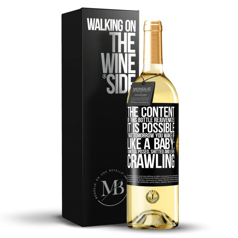 24,95 € Free Shipping | White Wine WHITE Edition The content of this bottle rejuvenates. It is possible that tomorrow you wake up like a baby: vomited, pissed, shitted and Black Label. Customizable label Young wine Harvest 2020 Verdejo
