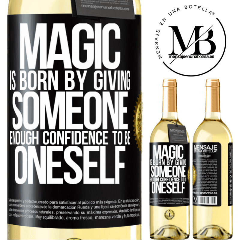 24,95 € Free Shipping | White Wine WHITE Edition Magic is born by giving someone enough confidence to be oneself Black Label. Customizable label Young wine Harvest 2020 Verdejo