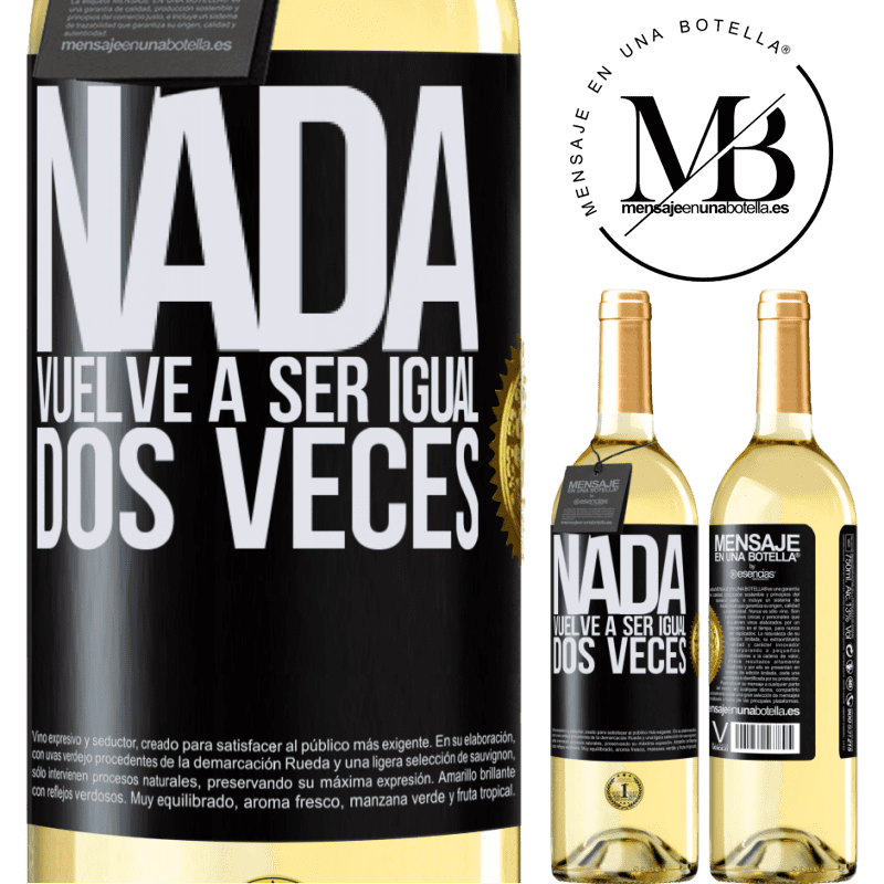24,95 € Envío gratis   Vino Blanco Edición WHITE Nada vuelve a ser igual dos veces Etiqueta Negra. Etiqueta personalizable Vino joven Cosecha 2020 Verdejo