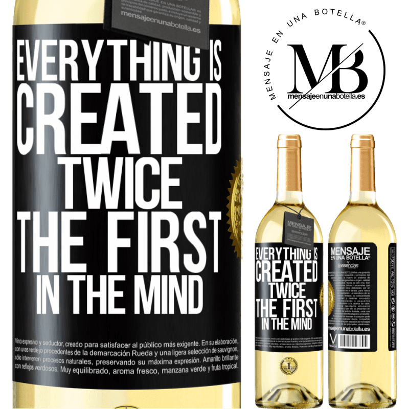 24,95 € Free Shipping | White Wine WHITE Edition Everything is created twice. The first in the mind Black Label. Customizable label Young wine Harvest 2020 Verdejo