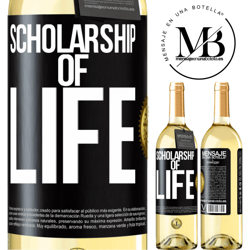 24,95 € Free Shipping | White Wine WHITE Edition Scholarship of life Black Label. Customizable label Young wine Harvest 2020 Verdejo
