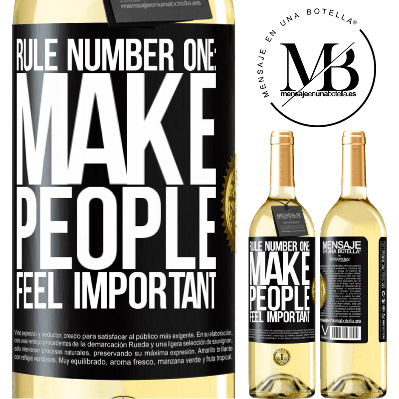 24,95 € Free Shipping   White Wine WHITE Edition Rule number one: make people feel important Black Label. Customizable label Young wine Harvest 2020 Verdejo
